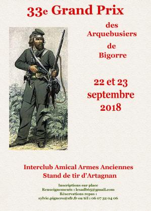Annonce 33e grand prix arquebusiers de bigorre 22 et 23 septembre 2018