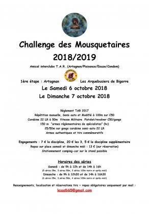 Annonce tar2018 19 challenge mousquetaires le 6 et 7 octobre 2018